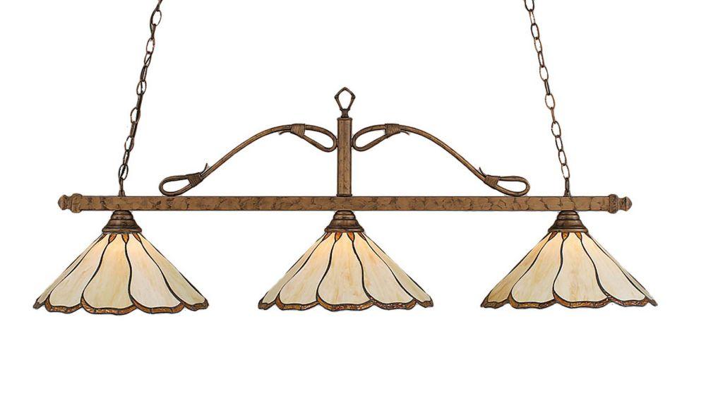 Concord 3 lumières plafond Bronze Incandescent Bar Billard au miel et Brun verre selon Tiffany