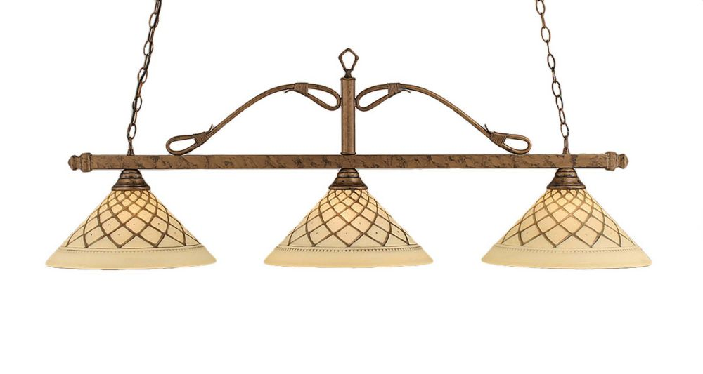 Concord 3-Light Ceiling Bronze Billiard Bar with a Chocolate Icing Glass