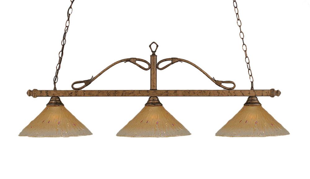 Concord 3 lumières plafond Bronze Incandescent Bar de billard avec un verre ambre