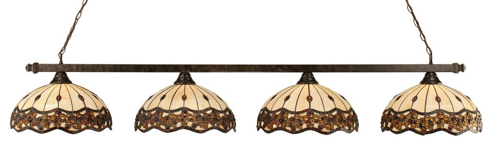 Concord 4 Light Ceiling Bronze Incandescent Billiard Bar with a Roman Jewel Tiffany Glass