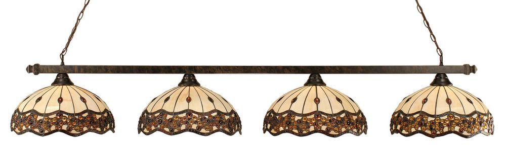 Concord 4 lumières plafond Bronze Incandescent Bar Billard Avec Un Roman Jewel Le verre selon Tif...
