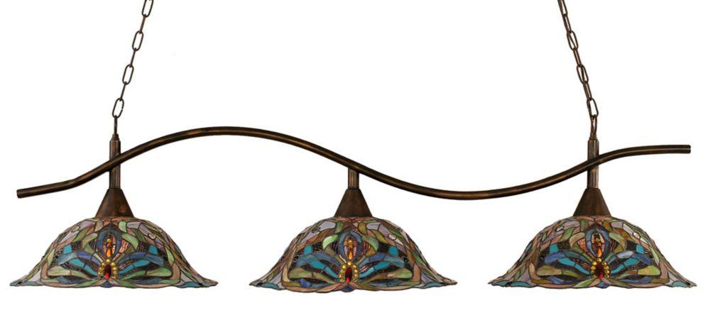 Concord 3-Light Ceiling Bronze Billiard Bar with Kaleidoscope Tiffany Glass