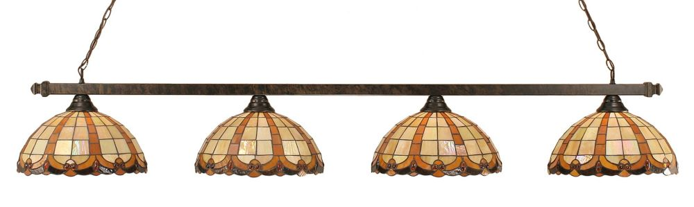 Concord 4 Light Ceiling Bronze Incandescent Billiard Bar with a Butterscotch Tiffany Glass