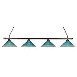 Filament Design Concord 4 lumières plafond Bronze Incandescent Bar Billard avec un cristal de verre Teal