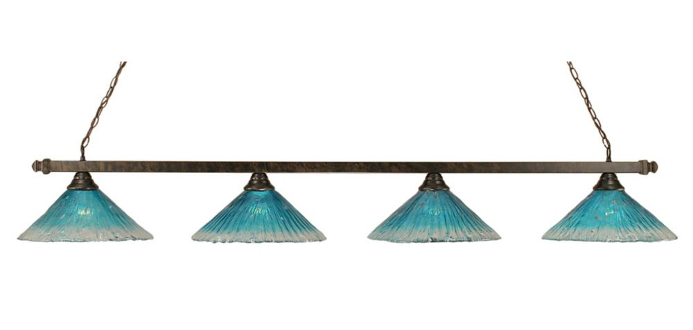Concord 4-Light Ceiling Bronze Billiard Bar with a Teal Crystal Glass