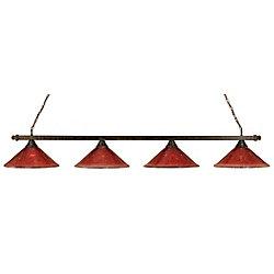 Filament Design Concord 4 lumières plafond Bronze Incandescent Bar Billard avec un cristal de verre Framboise