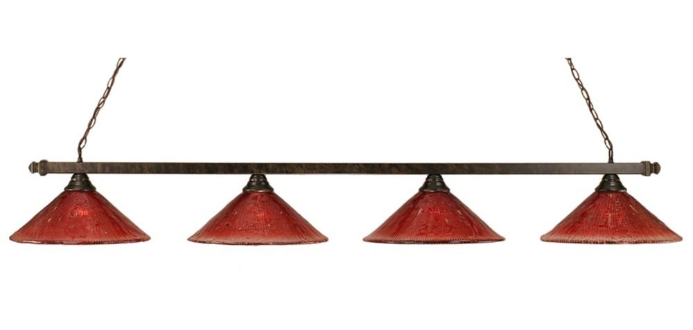 Concord 4-Light Ceiling Bronze Billiard Bar with a Raspberry Crystal Glass