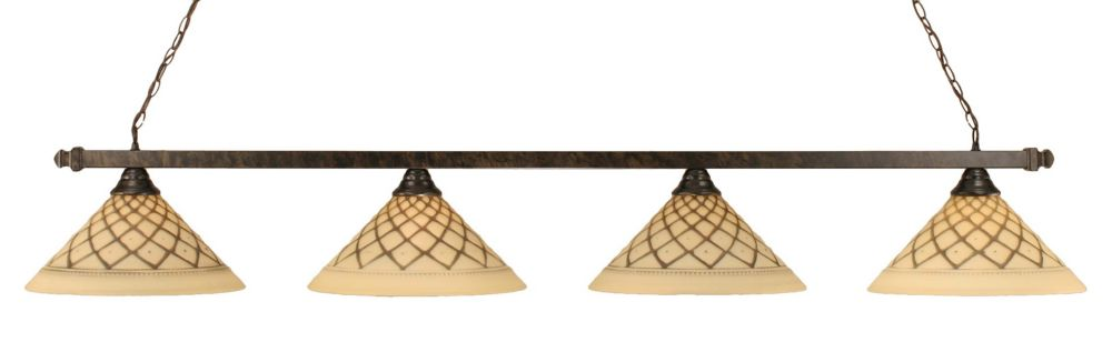Concord 4-Light Ceiling Bronze Billiard Bar with a Chocolate Icing Glass
