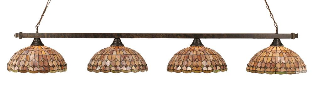 Concord 4 lumières plafond Bronze Incandescent Bar de billard avec A Rosetta Le verre selon Tiffa...