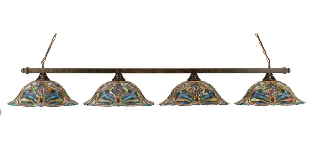 Concord 4 Light Ceiling Bronze Incandescent Billiard Bar with Kaleidoscope Tiffany Glass