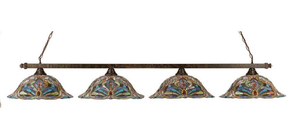 Concord 4-Light Ceiling Bronze Billiard Bar with Kaleidoscope Tiffany Glass