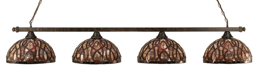 Concord 4-Light Ceiling Bronze Billiard Bar with a Persian Nites Tiffany Glass