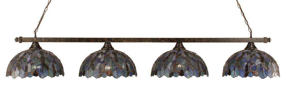 Concord 4 lumières plafond Bronze Incandescent Bar Billard d'une mosaïque bleue Le verre selon Ti...