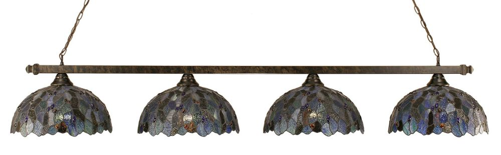 Concord 4-Light Ceiling Bronze Billiard Bar with a Blue Mosaic Tiffany Glass