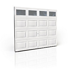 Premium Series 3000SP 8 ft. x 7 ft. White Garage Door with Insulated Plain Windows and Spring System