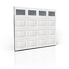 Clopay Premium Series 3000SP 9 ft. x 7 ft. White Garage Door with Insulated Plain Windows and Spring System