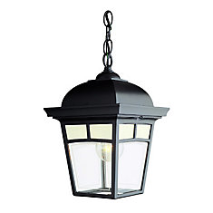 Imagine Series, Black With Frosted Pattern Glass Panels, Chain Mount, LED 7 Watts