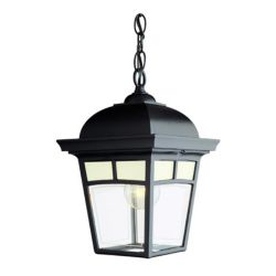 Snoc Imagine Series, Black With Frosted Pattern Glass Panels, Chain Mount, LED 7 Watts
