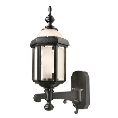 Novella I, Uplight Wall Mount, Frosted Glass Panels And Globe, Black