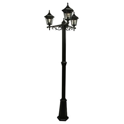 Elegant Series, Black With Clear Seeded Glass Panels, Multihead Post Mount With 3 Sections Pole