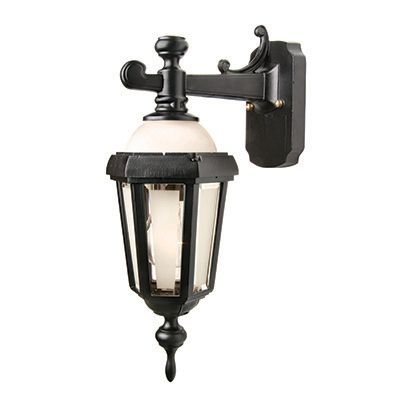 Novella II, Downlight Wall Mount, Frosted Glass Panels And Globe, Black