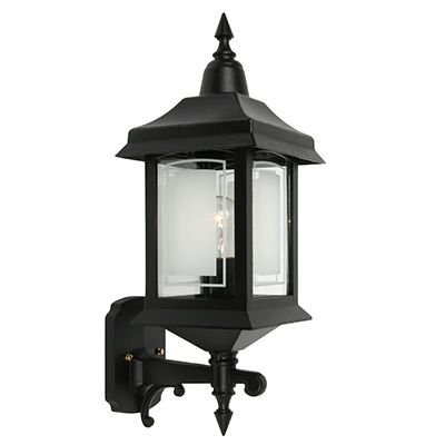 Victoria, Uplight Wall Mount, Etched Glass Panels, Black