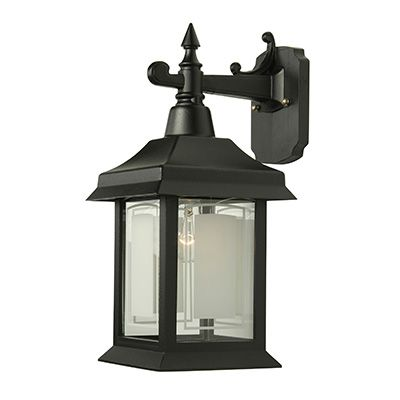 Victoria, Downlight Wall Mount With Open Bottom, Etched Glass Panels, Black
