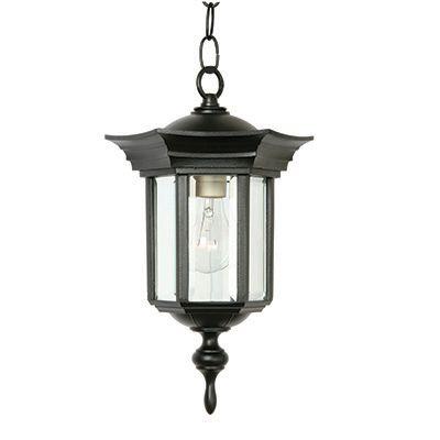 Collection Royal, fini noir, panneaux de verre clair biseauté, luminaire suspendu