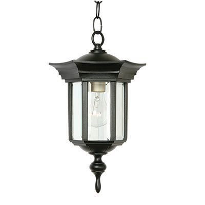 Royal Series, Black With Clear Beveled Glass Panels, Chain Mount