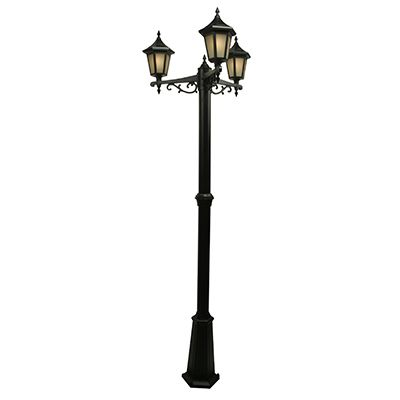 Elegant Series, Black With Frosted Coffee Glass Panels, Multihead Post Mount With 3 Sections Pole