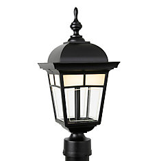 Imagine, Post Mount, LED 7 Watts, Frosted Pattern Glass Panels, Black (pole not included)