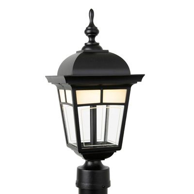 Snoc Imagine, Post Mount, LED 7 Watts, Frosted Pattern Glass Panels, Black (pole not included)