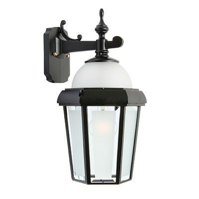 Novella II, Downlight Wall Mount With Open Bottom, Frosted Glass Panels And Globe, Black