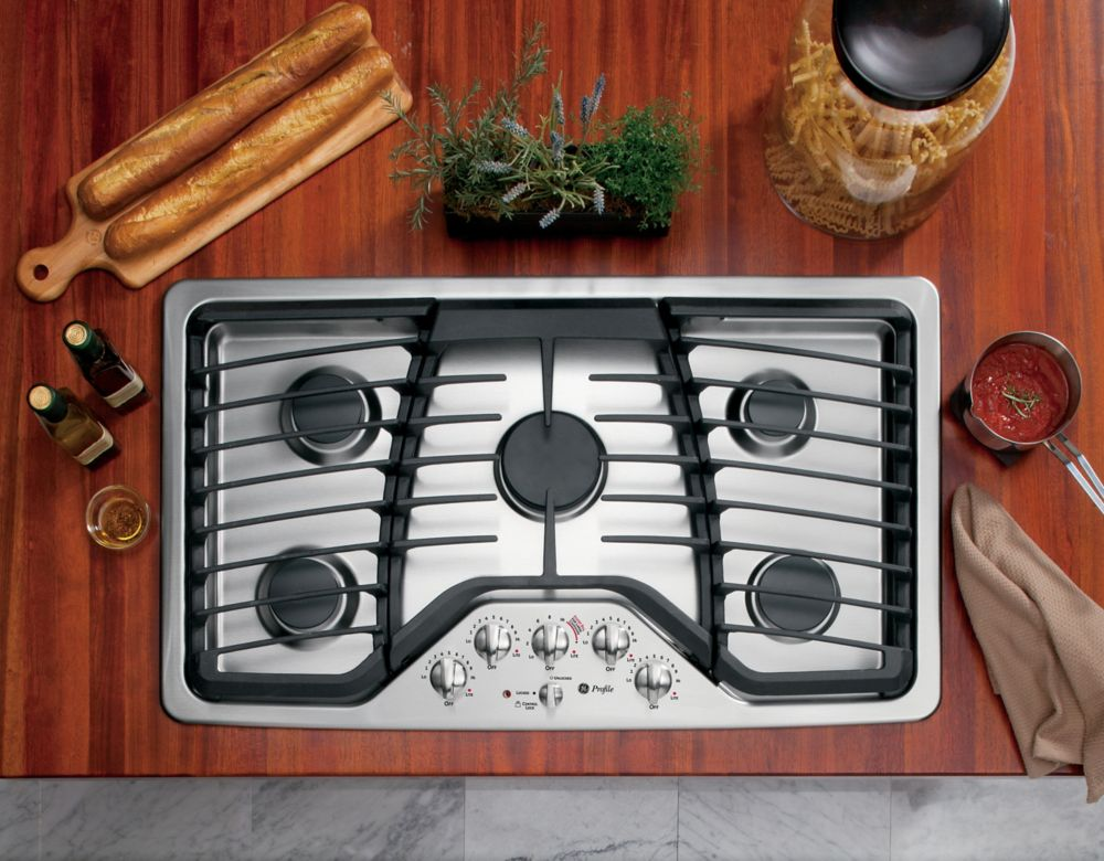 Ge profile 36 inch built in gas cooktop in stainless steel the home depot canada - Built in microwave home depot ...