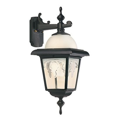 Boulevard, Downlight Wall Mount, Frosted Pattern Glass Panels, Black 81455BK in Canada