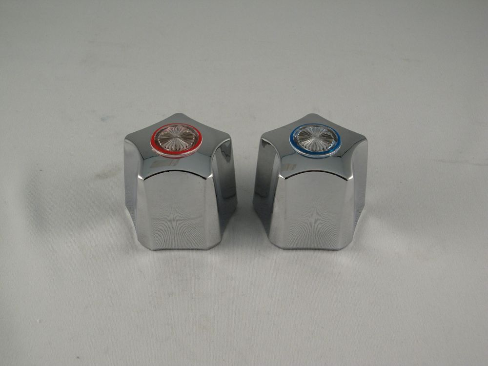 Replacement pair of Lavatory Faucet handles fit WALTEC Flotrol, metal finish