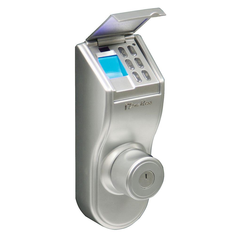 Système de verrouillage de la porte par empreinte digitale iTouchless Bio-Matic de couleur argent...