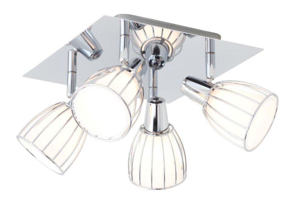 Balbino Ceiling Light 4L, Chrome Finish with White Opal Glass