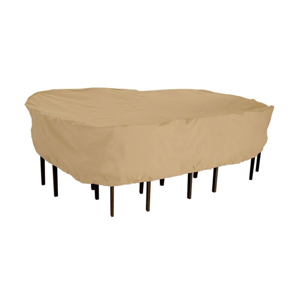 Housse pour ensemble de table ovale ou rectangulaire avec chaises de patio