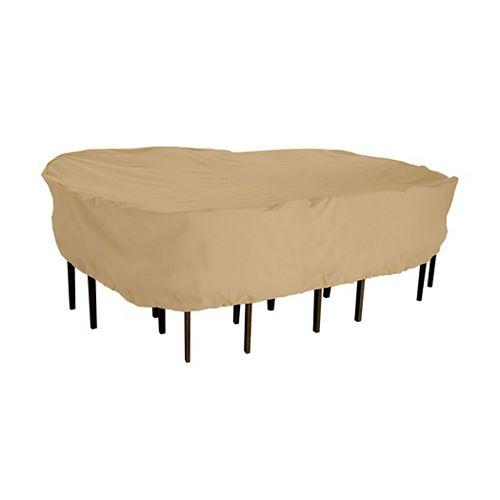 Classic Accessories Housse pour ensemble de table ovale ou rectangulaire avec chaises de patio