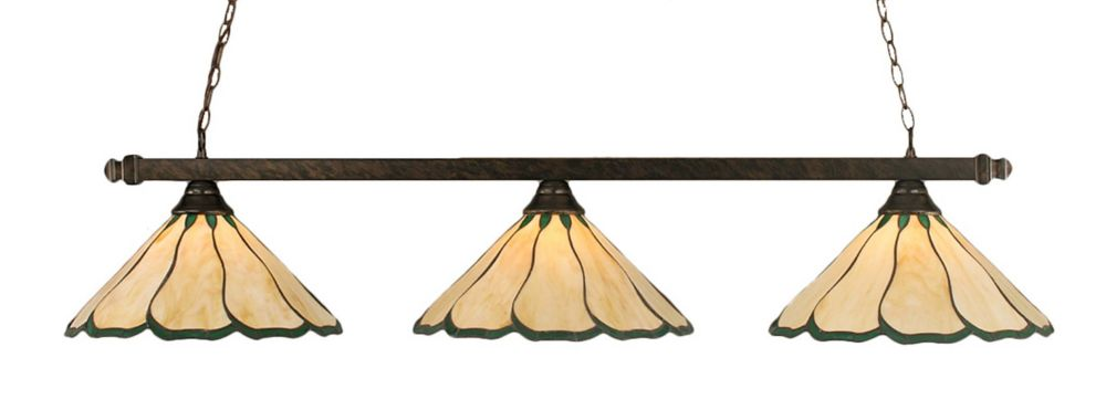 Concord 3 lumières plafond Bronze Incandescent Bar Billard au miel et vert verre selon Tiffany