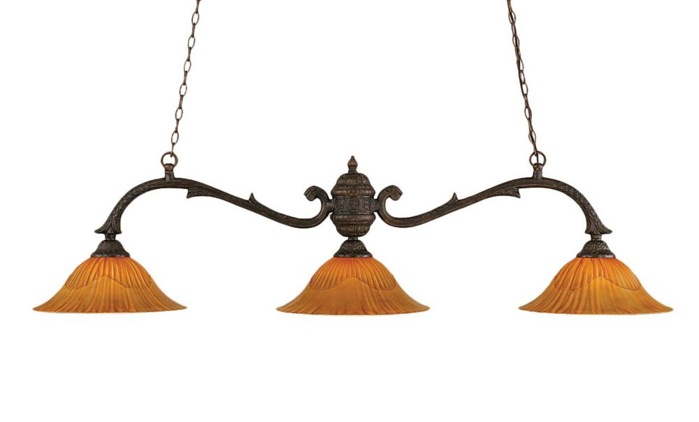 Concord 3 Light Ceiling Bronze Incandescent Billiard Bar with a Tiger Glass