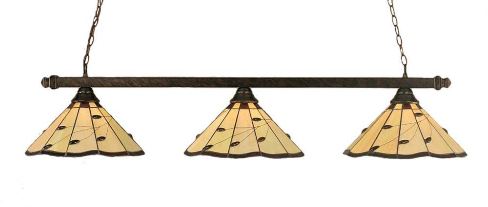 Concord 3 lumières plafond Bronze Incandescent Bar billard avec Autumn Leaves Le verre selon Tiff...