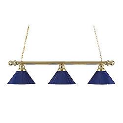 Filament Design Concord 3 lumières plafond laiton poli incandescence Bar Billard avec un bleu foncé acrylique Ombre