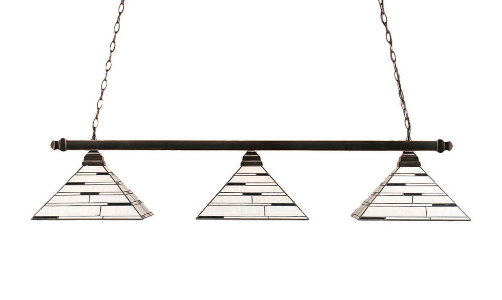 Concord 3 Light Ceiling Black Copper Incandescent Billiard Bar with a Pearl Ebony Tiffany Glass