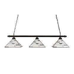 Filament Design Concord 3 lumières plafond noir cuivre incandescent Bar Billard avec une perle Ebony Le verre selon Tiffany