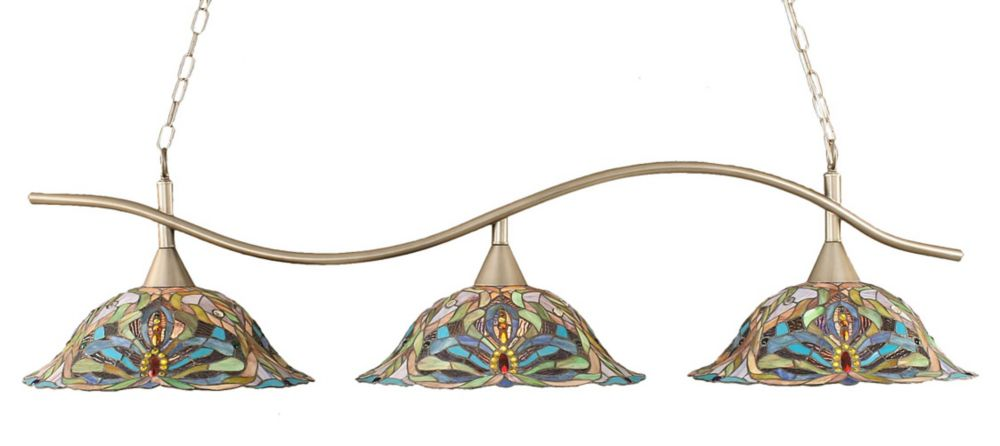 Concord 3-Light Ceiling Brushed Nickel Billiard Bar with Kaleidoscope Tiffany Glass