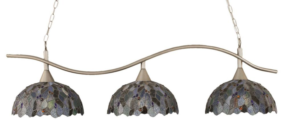 Concord 3-Light Ceiling Brushed Nickel Billiard Bar with a Blue Mosaic Tiffany Glass