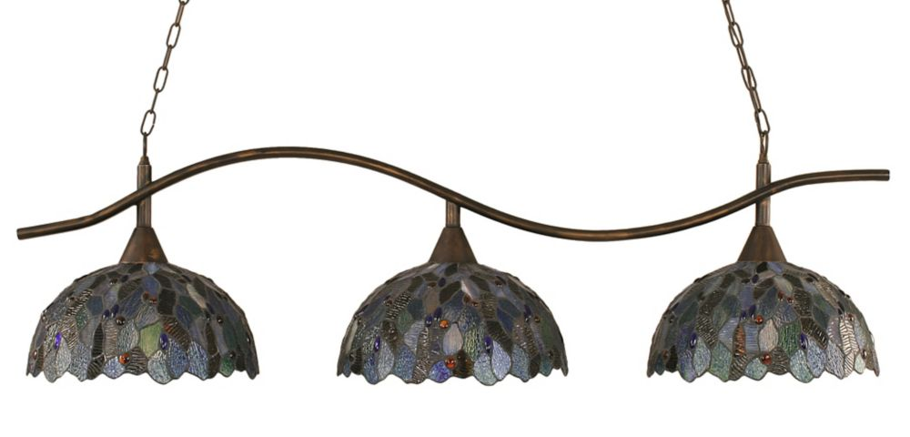Concord 3 Light Ceiling Bronze Incandescent Billiard Bar with a Blue Mosaic Tiffany Glass