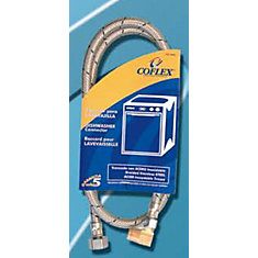 Coflex Stainless Steel Braided 90 Degree Angle Dishwasher Supply Hose 72-inch x 3/8-inch Comp x Elbow 3/8-inch Mip Comp